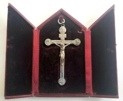 Vintage Sterling Silver Religious Crucifix Cross In Cathedral Presentation Box