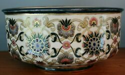 1870s Zsolnay Pecs Vilmos Huge Planter Oval Persian Floral Turkish Hungary Early