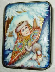 Russian Lacquer Box Fedoskino Snow Maiden With Squirrel Miniature Hand Painted