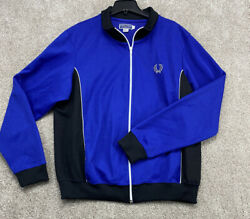 Fred Perry Track Jacket Large Mens Regular Size Long Sleeve Full Zip Blue $44.99