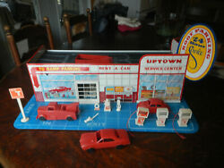 Vintage Wolverine Tin Lithograph Uptown Service Station Garage With Accessories
