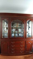 drexel Heritage High Quality Solid Cherry Hutch And Marble Top Sideboard