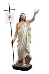 Jesus Resurrection Resin Statue Cm. 110 With Glass Eyes