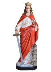 Statue Santa Barbara Cm 130 In Fibreglass With Eyes Of Glass