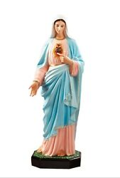 Statue Sacred Heart Of Maria Cm 110 In Fibreglass With Eyes Of Glass