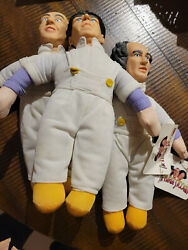 1999 The Three Stooges Larry Moe And Curly Painter Plush Dolls Play-by-play