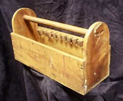 Antique Vintage Old Primitive Wood Wooden Tool Box Bin Tray Carrier Chest Tote