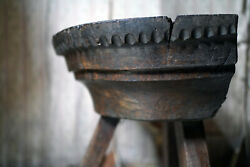 Antique 15thc And Later Primitive French Oak Capital / Stool / Chopping Board