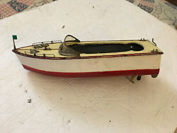 Vintage 1950s Toy Wood Boat Battery Operated Motor
