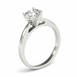 0.60 Ct H/vs2 Natural Diamond Solitaire Engagement Ring Round Cut 14k White Gold