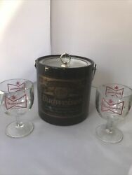 Vintage Bar Ware Budweiser Beer Plastic Ice Bucket W/ Lid And 2 Glasses Goblets