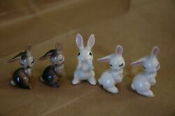 Hagen Renaker Shy Rabbits And Yelling Rabbit Brown, White Lot Of 5