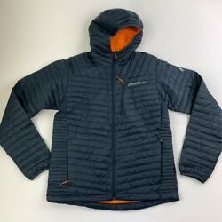 Eddie Bauer Mens Microtherm 2.0 Down Puffer Jacket Blue Hooded Zip Pockets M New