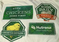 Nutrena Feed Metal Chicken Signs 1 Set of 4 Different Designs CHARITY NEW