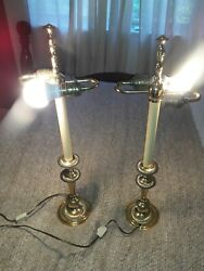 Vtg Baldwin Brass Large 24 Tall Candlestick Lamp Smithsonian Institute. Works