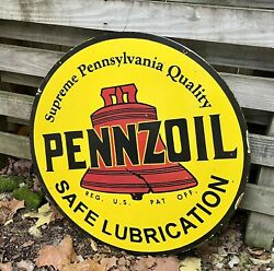 Large Double Sided Pennzoil Motor Oil Gas Station 30 Porcelain Metal Sign