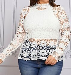 Plus Size Sexy Elegant Stand Collar Long Sleeve Floral Guipure Lace Blouse Top