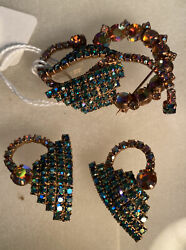 Antique Broach And Earings Blue/green On Basket Orange/yellow Rare