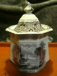 Rare Antique Flow Mulberry J. Clementson Ironstone Udina Sugar Bowl 1800and039s