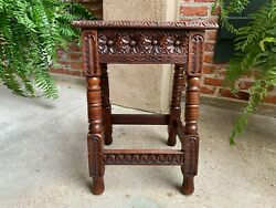 Antique English Carved Oak Joint Stool Bench Table Lift Top Splayed Leg C1900