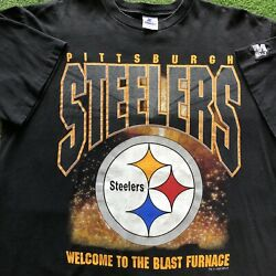 Vintage Pittsburgh Steelers Starter T-shirt Welcome To The Blast Furnace Men's L