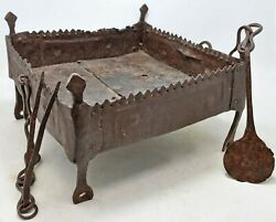 Antique Iron Fire Pit Sigdi Original Old Fine Hand Crafted Engraved With Tools