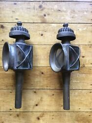 Vintage Brass Carriage Lamps Pair