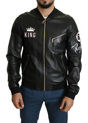 Dolce And Gabbana Jacket Black King Patch Leather Bomber It50/ Us40 / L Rrp 5200