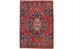 Red Floral 2x3 Hand Knotted Oriental Vintage Wool Traditional Doormat Area Rug