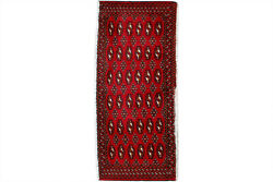 2x4 Red Geometric Hand Knotted Oriental Vintage Wool Traditional Runner Area Rug