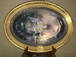 Thomas Kinkade Home For The Holidays Collectors Large Oval Plate W/ Stand