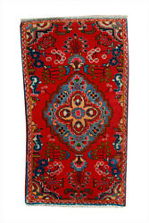 2x3 Red Floral Hand Knotted Oriental Vintage Wool Traditional Doormat Area Rug