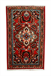 2x4 Red Geometric Hand Knotted Oriental Vintage Wool Traditional Carpet Area Rug