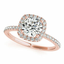 0.86 Ct Natural Round Diamond Engagement Ring Square Halo E/si1 14k Rose Gold