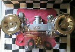 New Chevy 2x1 Fenton Manifold Setup-new Carburetor/carbs And Chrome Air Cleaners
