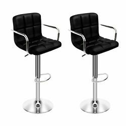 Set Of 2 Black Bar Stools Modern Pu Leather Counter Height Swivel Chair Seat