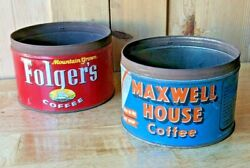 Maxwell House, Folgers, Coffee Advertising Tin Lot. Mid-century[