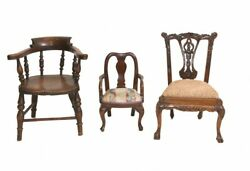 Set Antique Child Chairs Chippendale Queen Anne