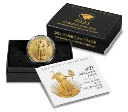 American Eagle 2021 W One Ounce Gold Uncirculated Coin 21ehn In Hand
