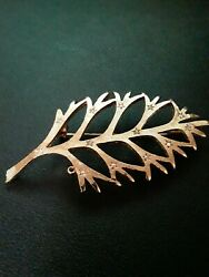 Vintage Gold Leaf Brooch Pin With Clear Stone Accents