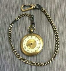 The Original Arizona Jeans Company Pocket Watch On Chain Roman Numeral Hours New