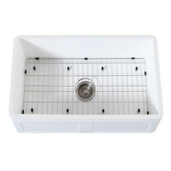 Gourmetier Kgkfa301810ds Farmhouse Single Bowl Kitchen Sink W/ Strainer And Grid