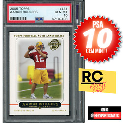 2005 Topps 431 Aaron Rodgers Rc Rookie Card Green Bay Packers Psa 10 Gem Mint