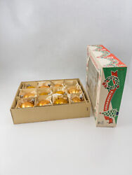 Vintage Box Of 11 Gold Glass 2andrdquo Christmas Tree Ornaments Made In Poland Boxed