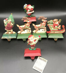 Midwest Of Cannon Falls Christmas Cast Iron Stocking Holder Hanger Lot Of 6