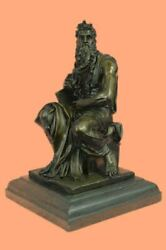 Real Bronze On Marble Base Signed Sculpture Moses Holding 10 Commandments Statue