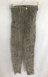 Tractor Girls Size 7 Green Corduroy Cotton Stretch Skinny Cargo Jeans Pants