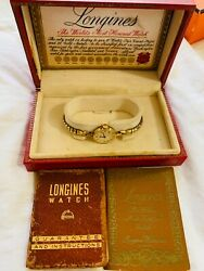 Vintage Longines Womens Gold Round Watch With Box