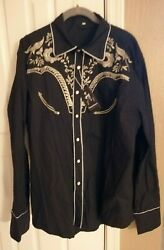 Daupanzees Men#x27;s Long Sleeve Embroidered Shirts XXL Casual Button Down