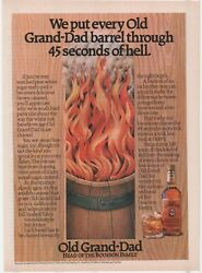 Vintage 1987 Old Grand-dad Bourbon Barrel 45 Seconds Hell Flame Fire Print Ad